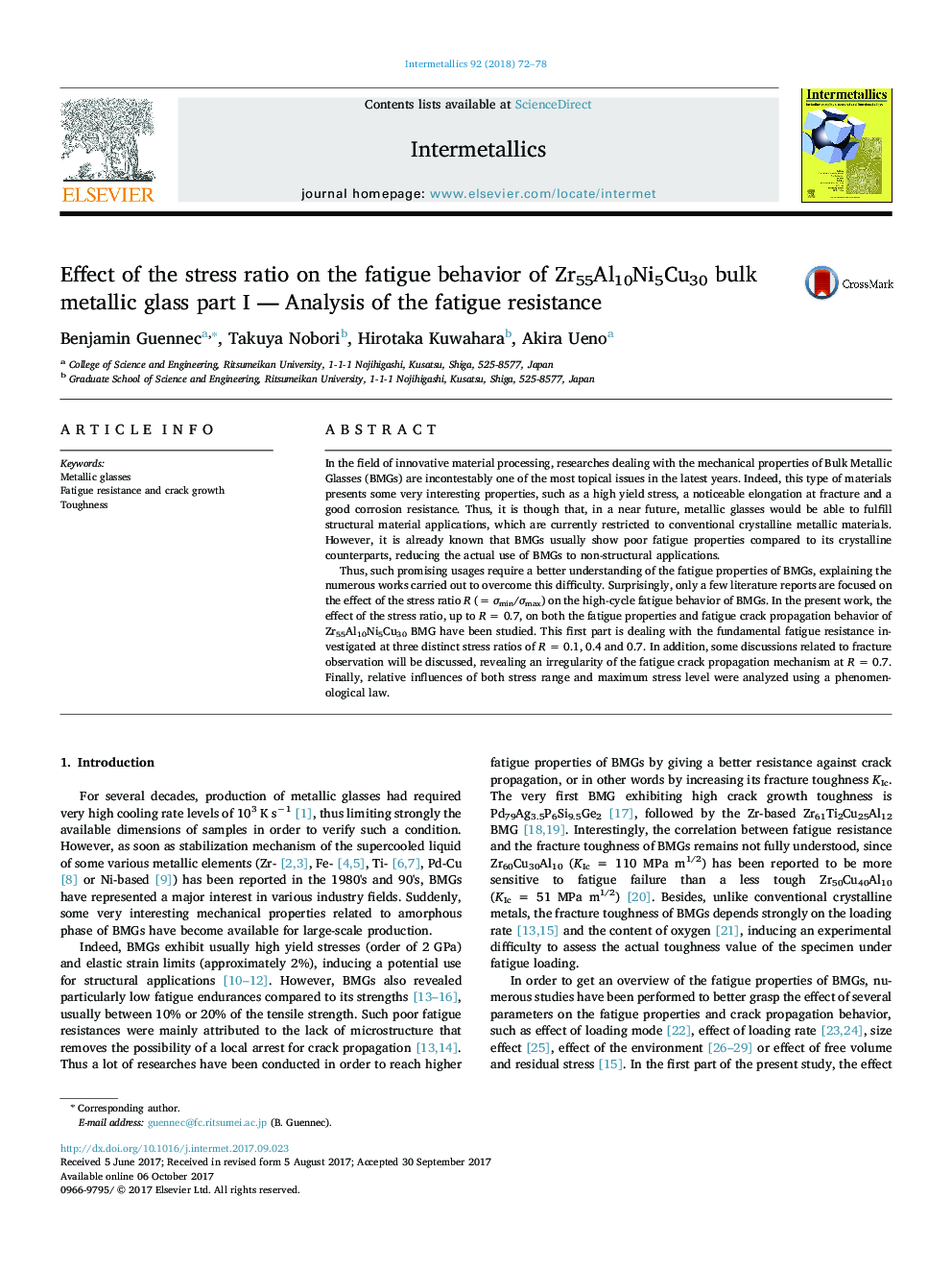 Effect of the stress ratio on the fatigue behavior of Zr55Al10Ni5Cu30 bulk metallic glass part I - Analysis of the fatigue resistance