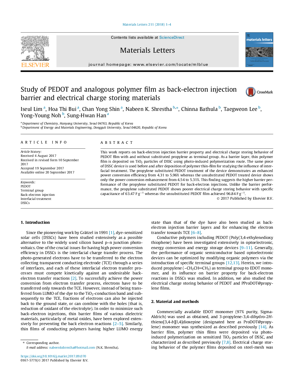 Study of PEDOT and analogous polymer film as back-electron injection barrier and electrical charge storing materials