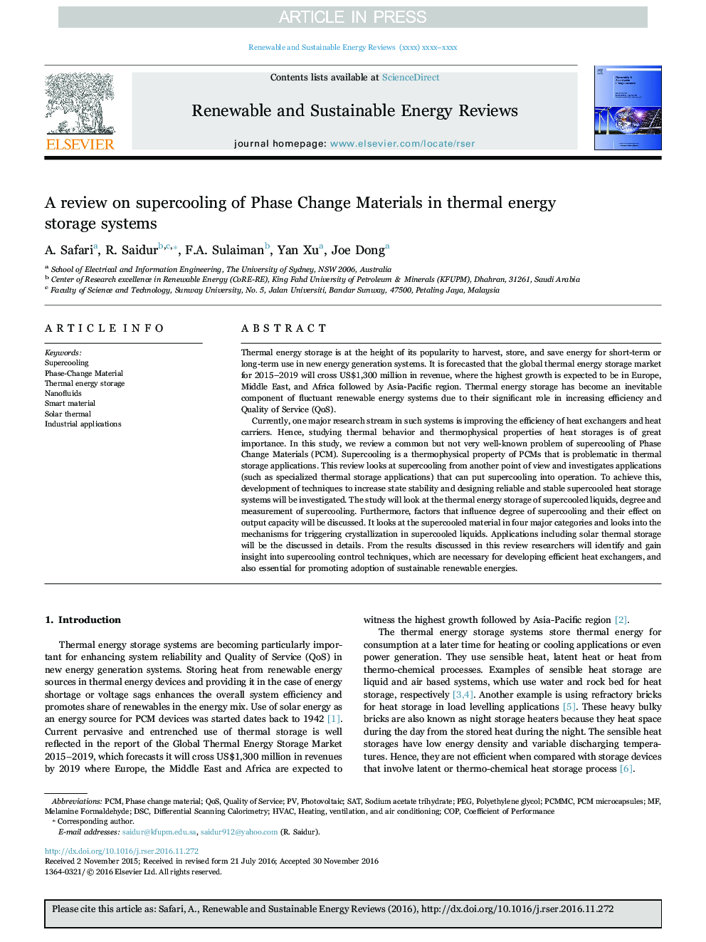 A review on supercooling of Phase Change Materials in thermal energy storage systems