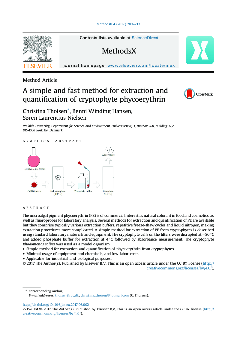 A simple and fast method for extraction and quantification of cryptophyte phycoerythrin