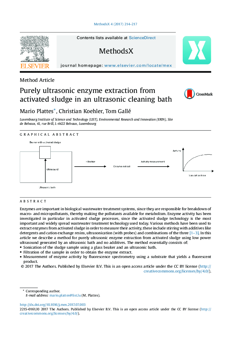 Purely ultrasonic enzyme extraction from activated sludge in an ultrasonic cleaning bath