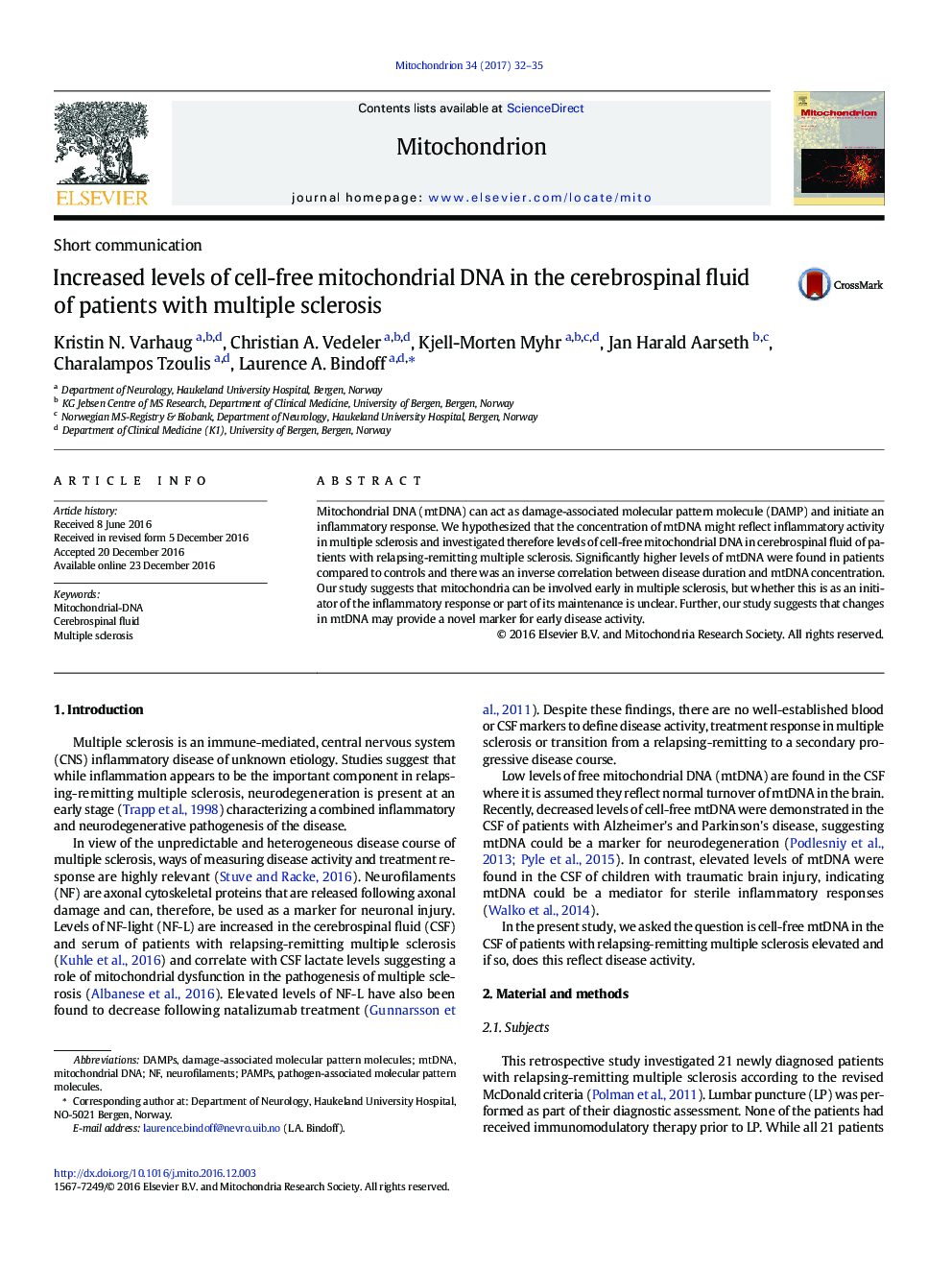 Short communicationIncreased levels of cell-free mitochondrial DNA in the cerebrospinal fluid of patients with multiple sclerosis