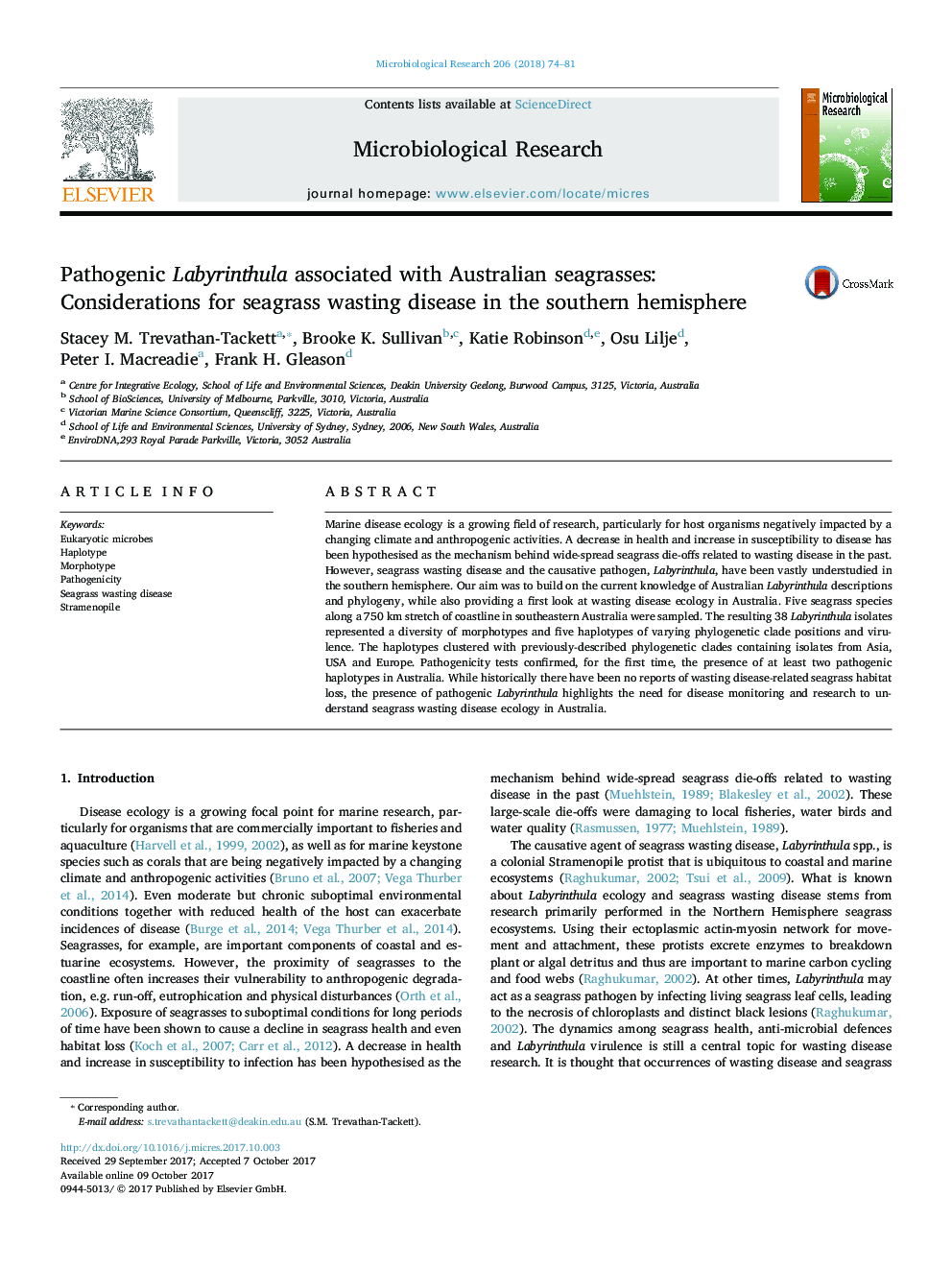 Pathogenic Labyrinthula associated with Australian seagrasses: Considerations for seagrass wasting disease in the southern hemisphere