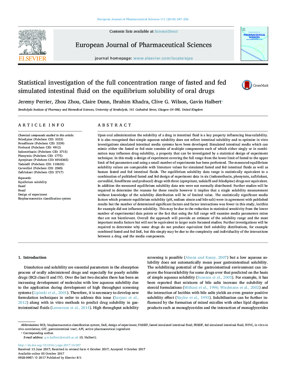 Statistical investigation of the full concentration range of fasted and fed simulated intestinal fluid on the equilibrium solubility of oral drugs