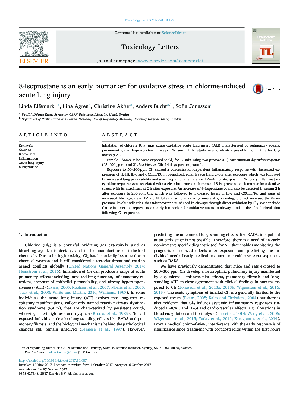 8-Isoprostane is an early biomarker for oxidative stress in chlorine-induced acute lung injury