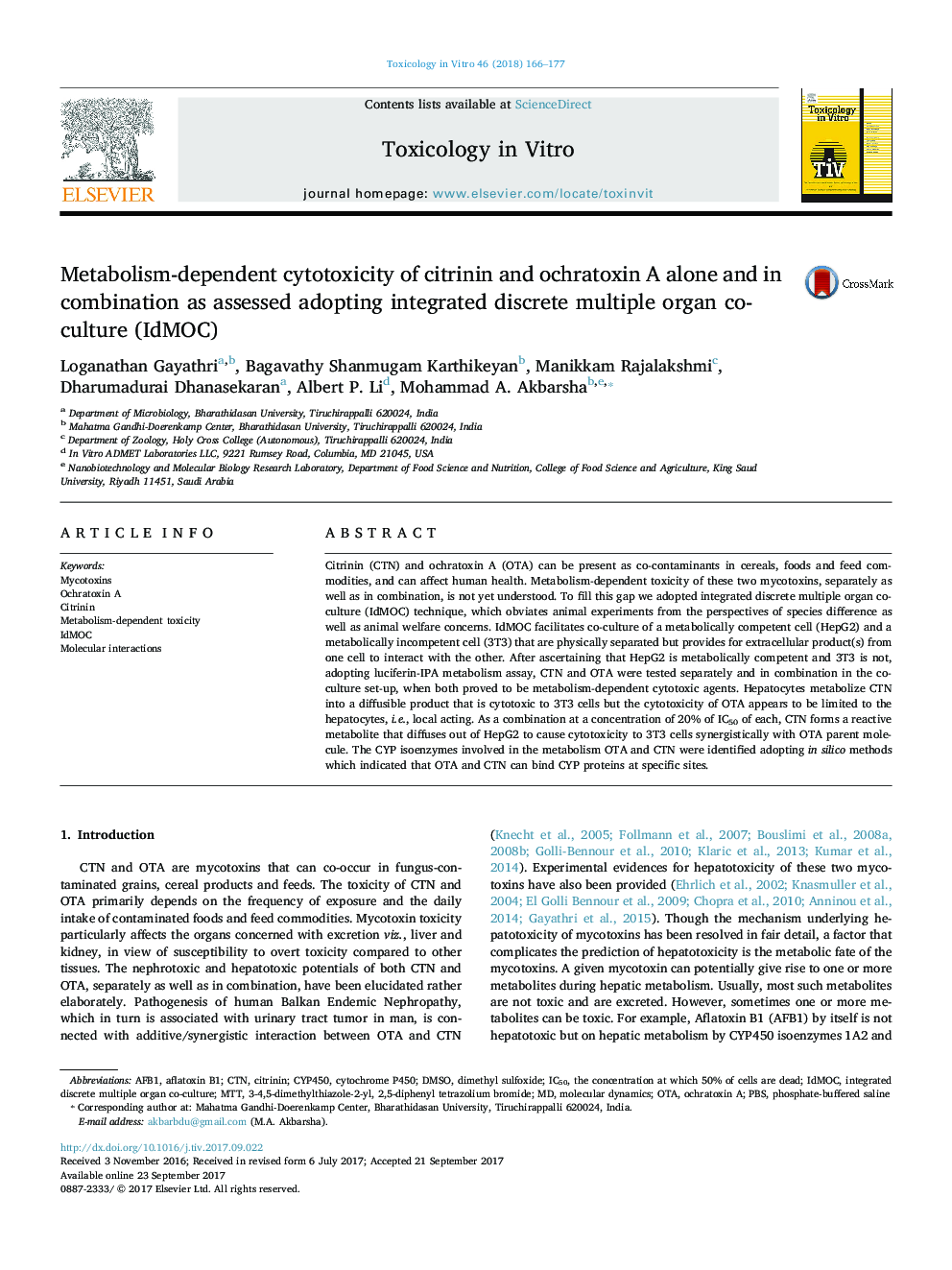 Metabolism-dependent cytotoxicity of citrinin and ochratoxin A alone and in combination as assessed adopting integrated discrete multiple organ co-culture (IdMOC)