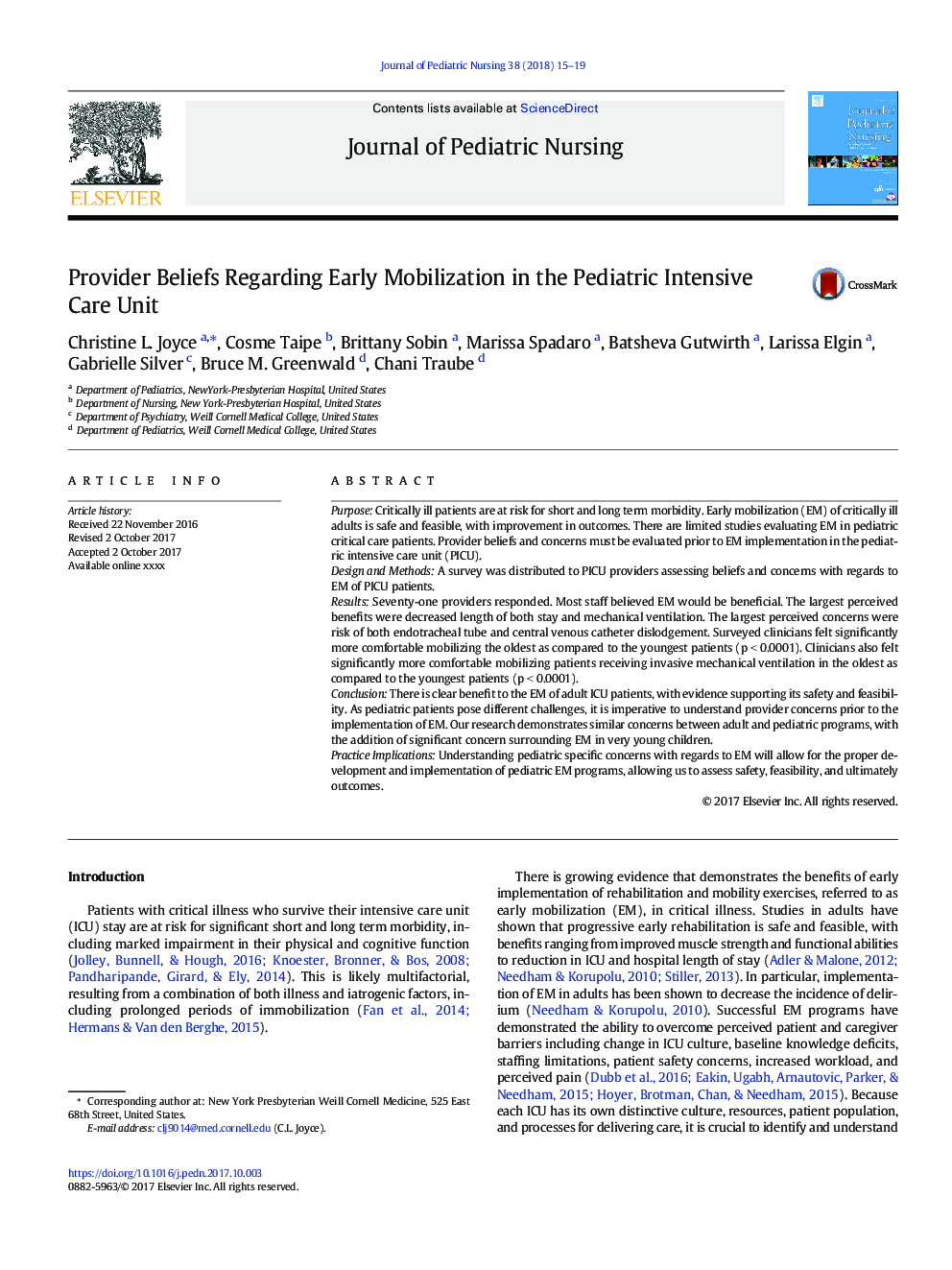 Provider Beliefs Regarding Early Mobilization in the Pediatric Intensive Care Unit