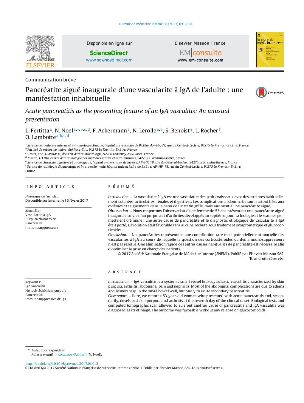 Communication brèvePancréatite aiguë inaugurale d'une vascularite à IgA de l'adulte : une manifestation inhabituelleAcute pancreatitis as the presenting feature of an IgA vasculitis: An unusual presentation