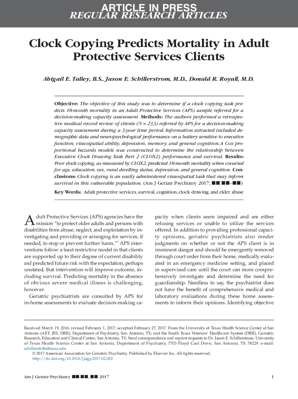 Clock Copying Predicts Mortality in Adult Protective Services Clients