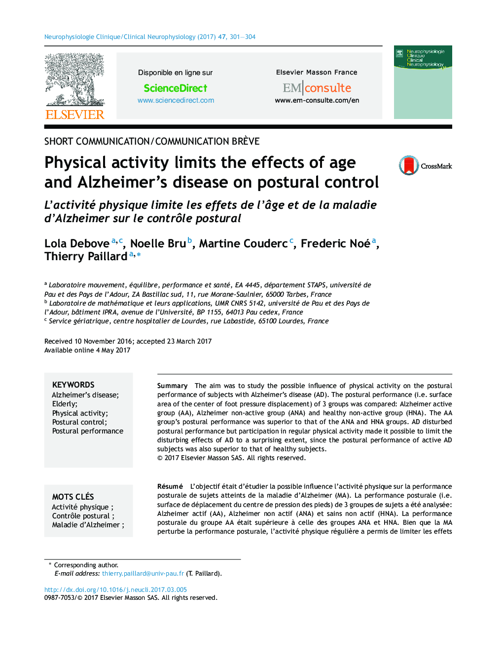 Physical activity limits the effects of age and Alzheimer's disease on postural control