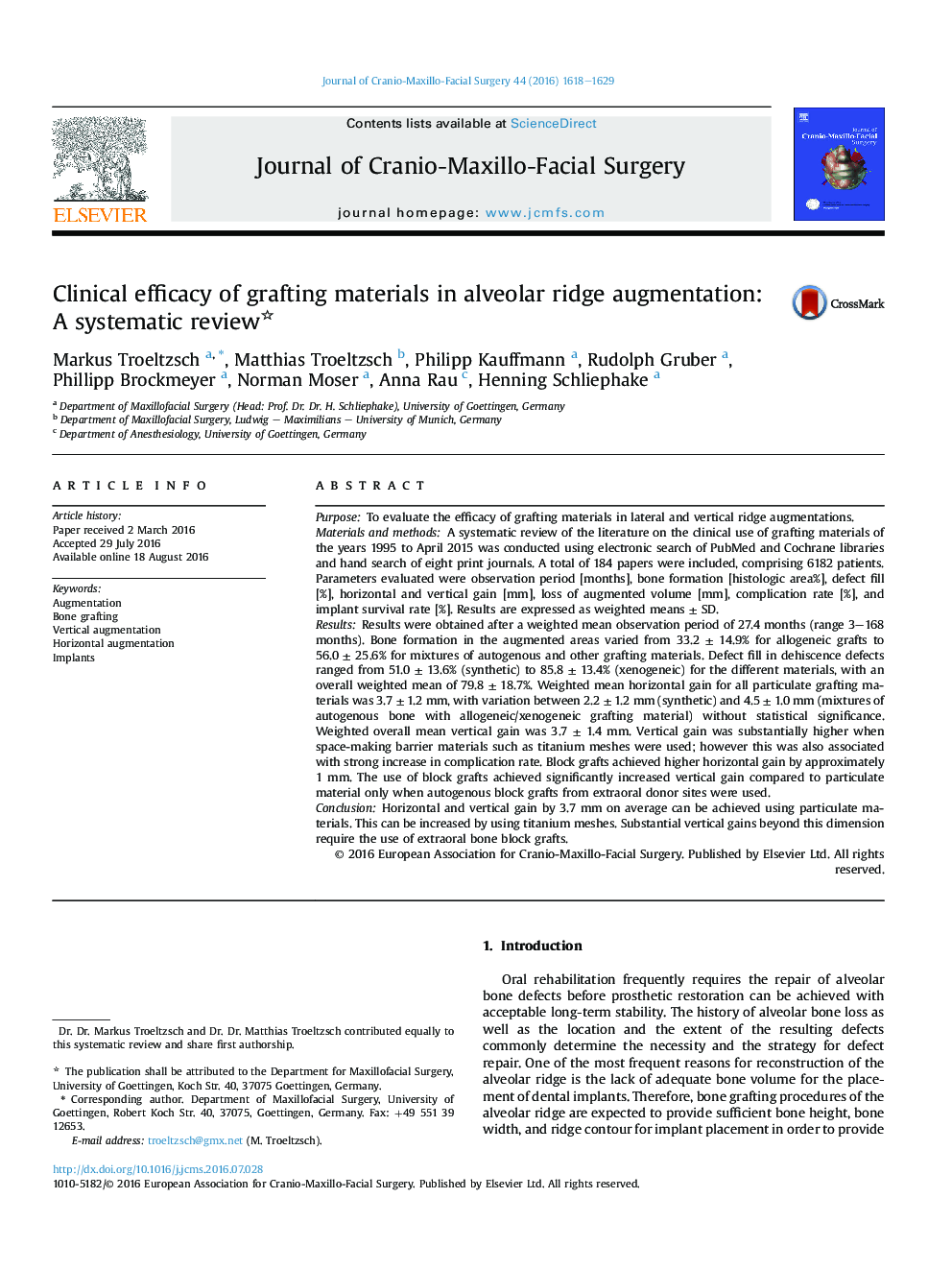 Clinical efficacy of grafting materials in alveolar ridge augmentation: A systematic review