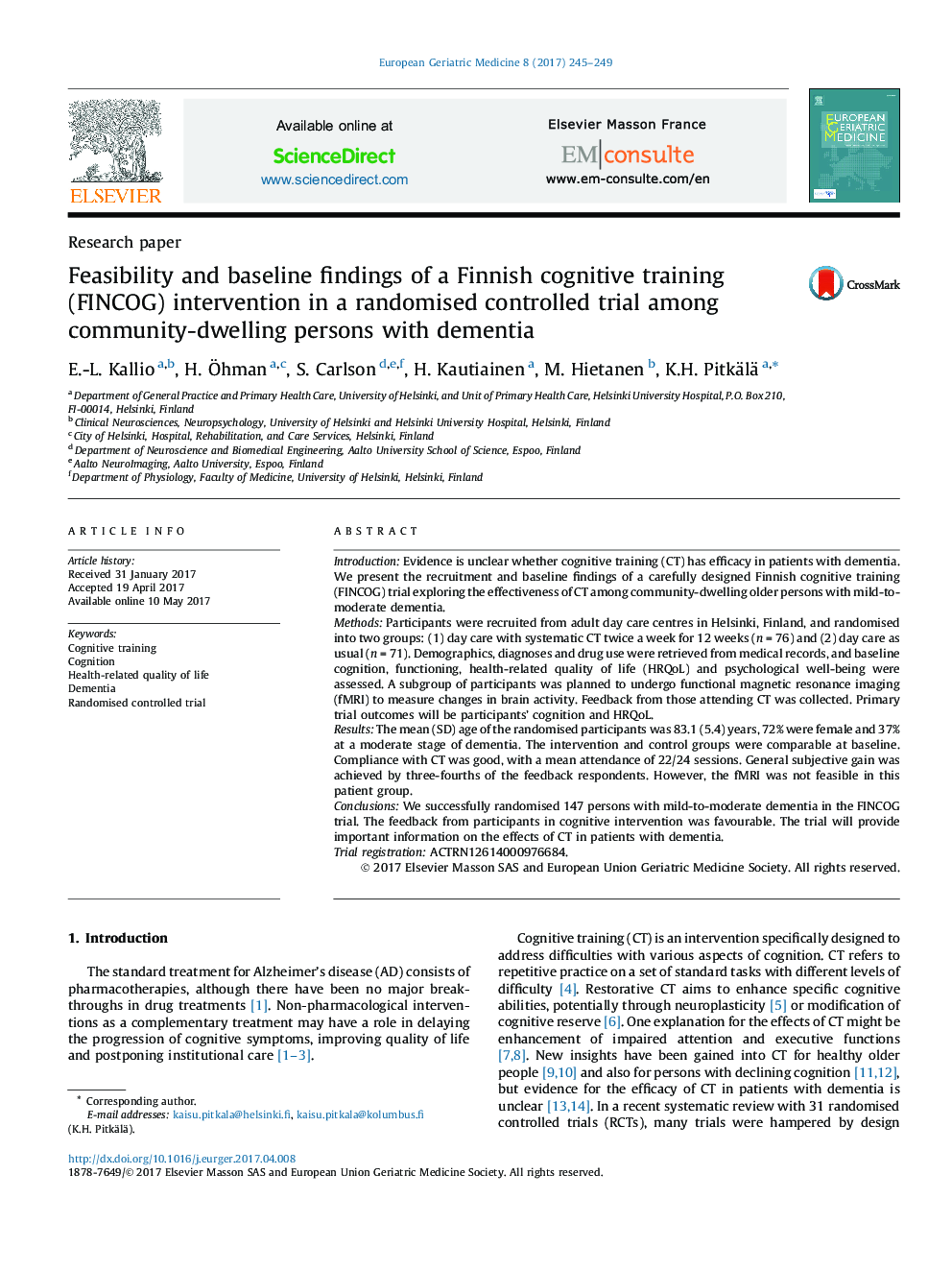 Feasibility and baseline findings of a Finnish cognitive training (FINCOG) intervention in a randomised controlled trial among community-dwelling persons with dementia