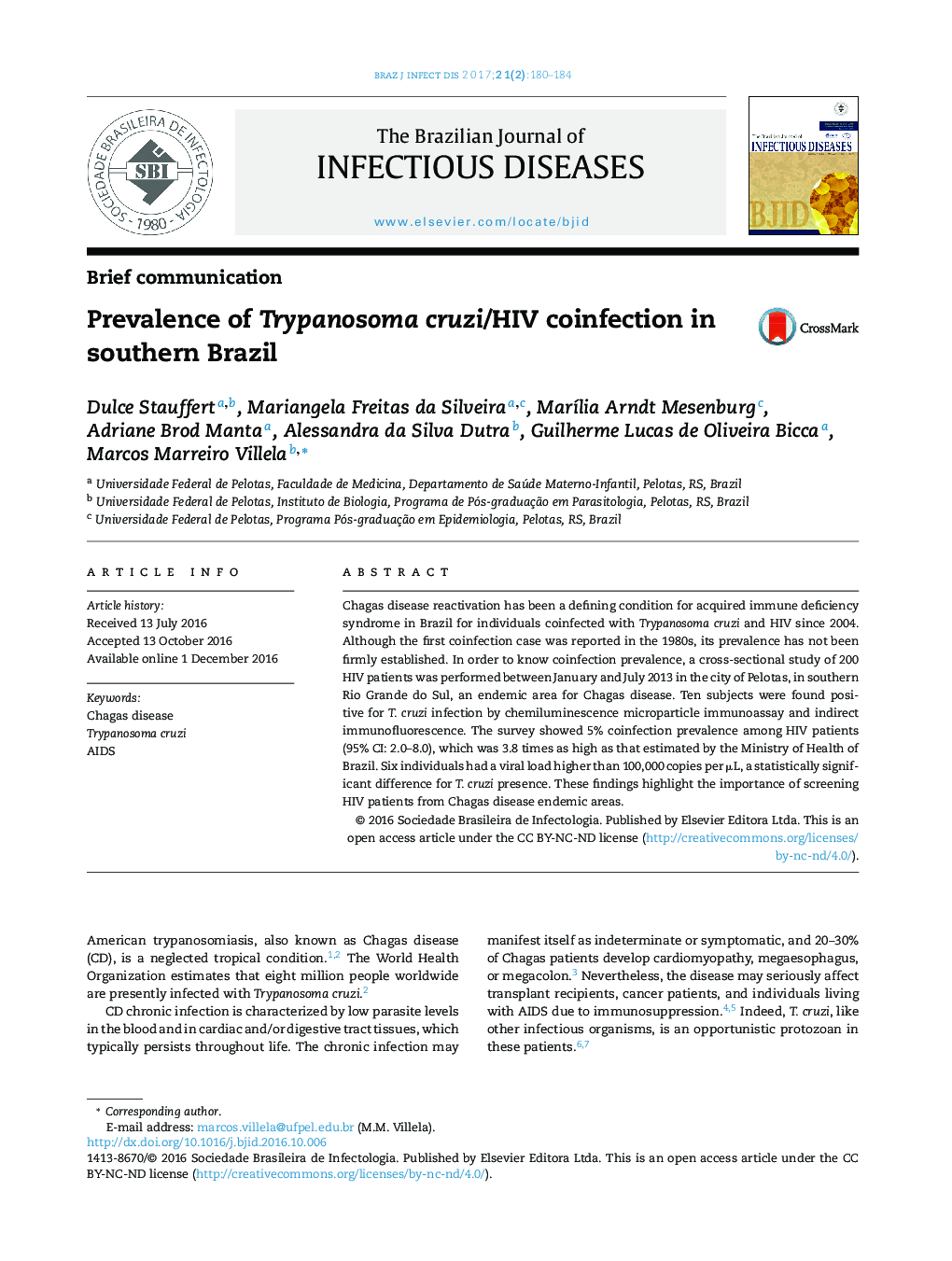 Prevalence of Trypanosoma cruzi/HIV coinfection in southern Brazil