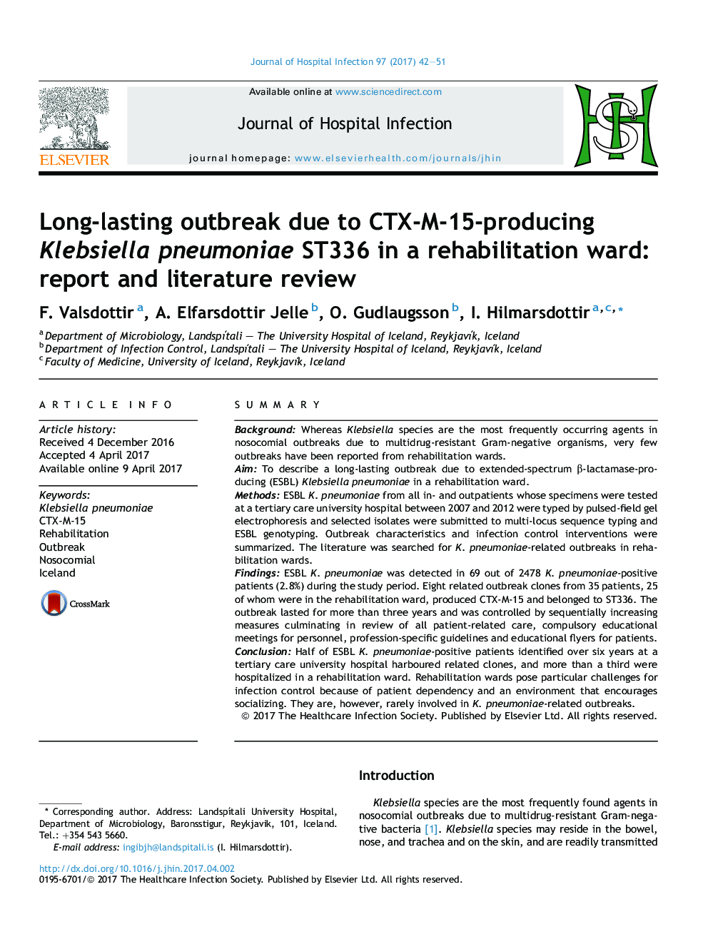 Long-lasting outbreak due to CTX-M-15-producing Klebsiella pneumoniae ST336 in a rehabilitation ward: report and literature review