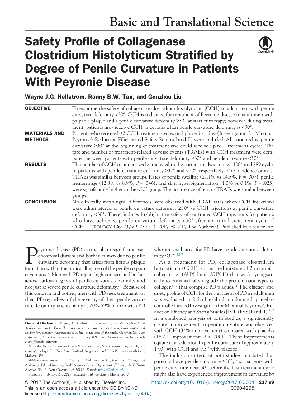 Safety Profile of Collagenase Clostridium Histolyticum Stratified by Degree of Penile Curvature in Patients With Peyronie Disease
