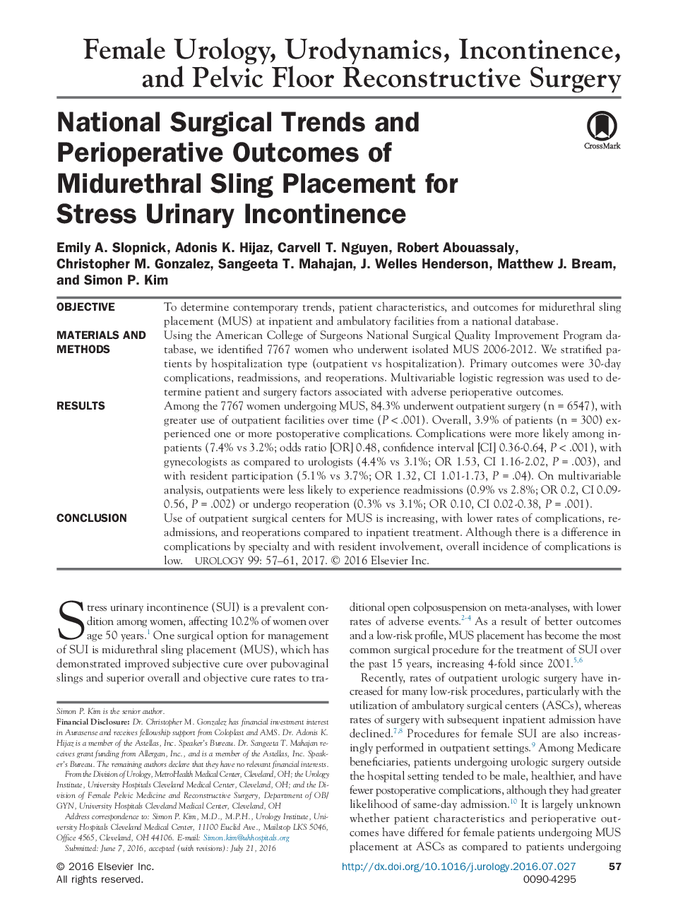 National Surgical Trends and Perioperative Outcomes of Midurethral Sling Placement for Stress Urinary Incontinence