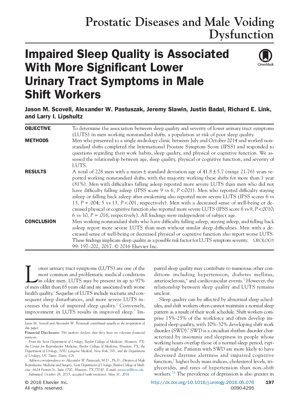 Impaired Sleep Quality is Associated With More Significant Lower Urinary Tract Symptoms in Male Shift Workers