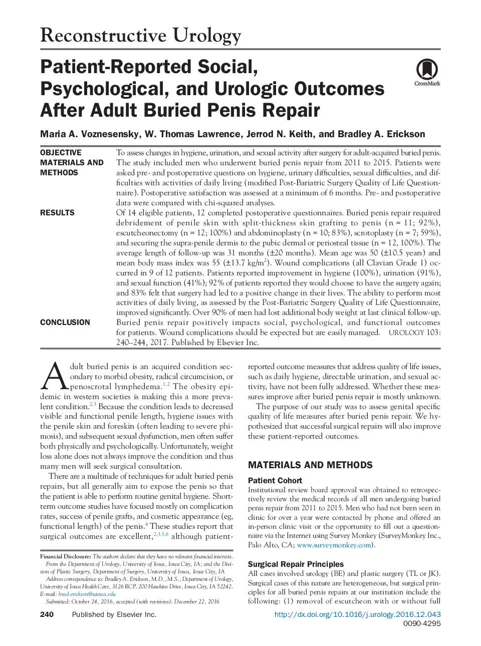Patient-Reported Social, Psychological, and Urologic Outcomes After Adult Buried Penis Repair