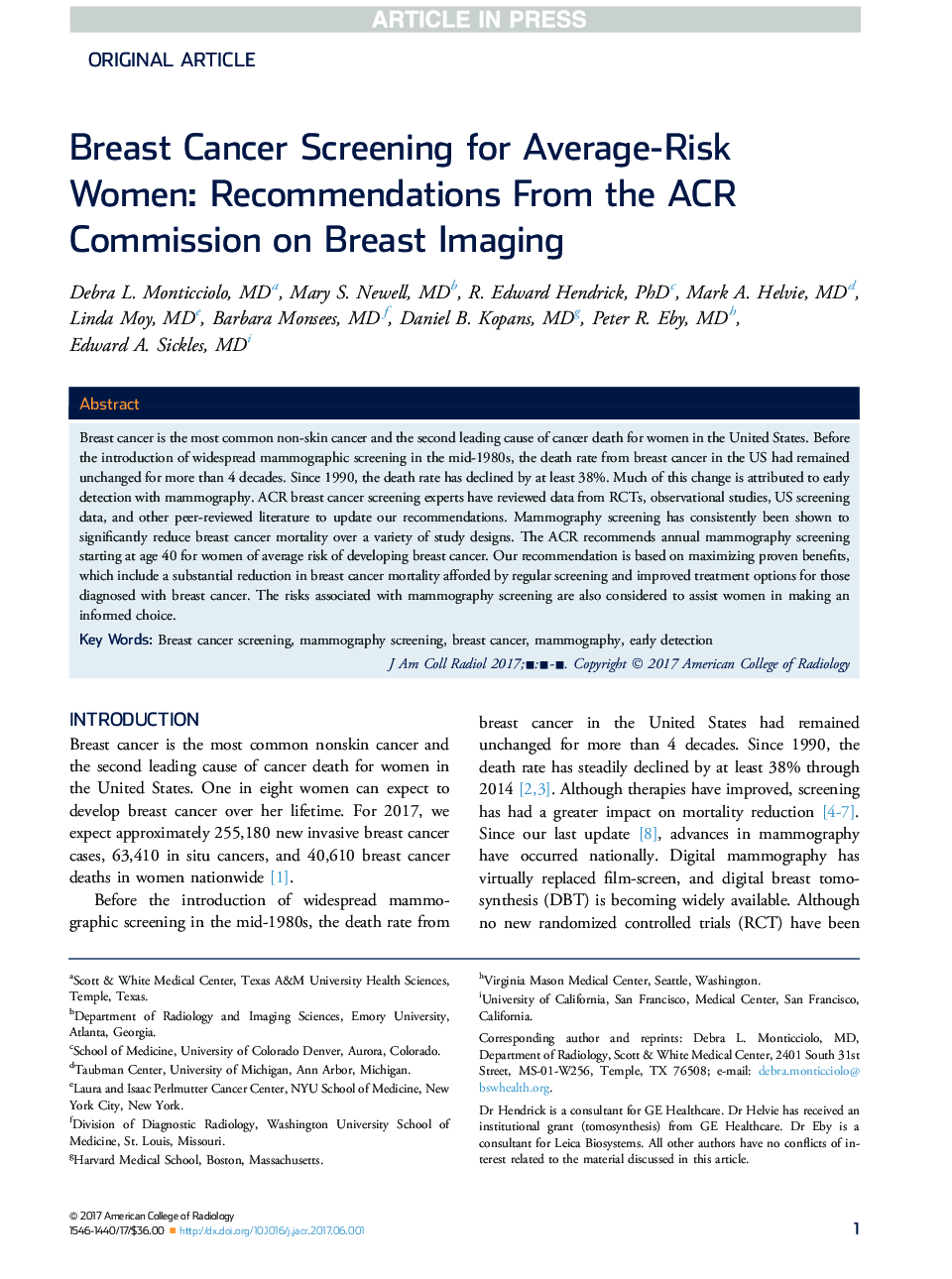 Breast Cancer Screening for Average-Risk Women: Recommendations From the ACR Commission on Breast Imaging