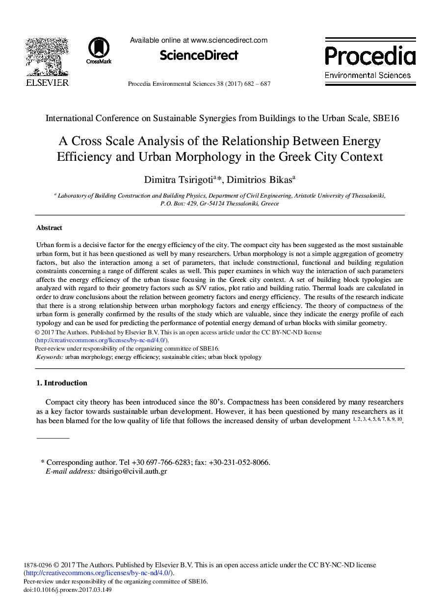 A Cross Scale Analysis of the Relationship between Energy Efficiency and Urban Morphology in the Greek City Context