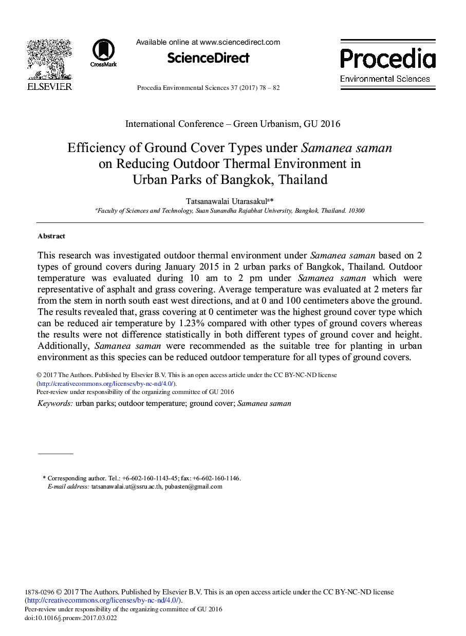 Efficiency of Ground Cover Types under Samanea saman on Reducing Outdoor Thermal Environment in Urban Parks of Bangkok, Thailand☆