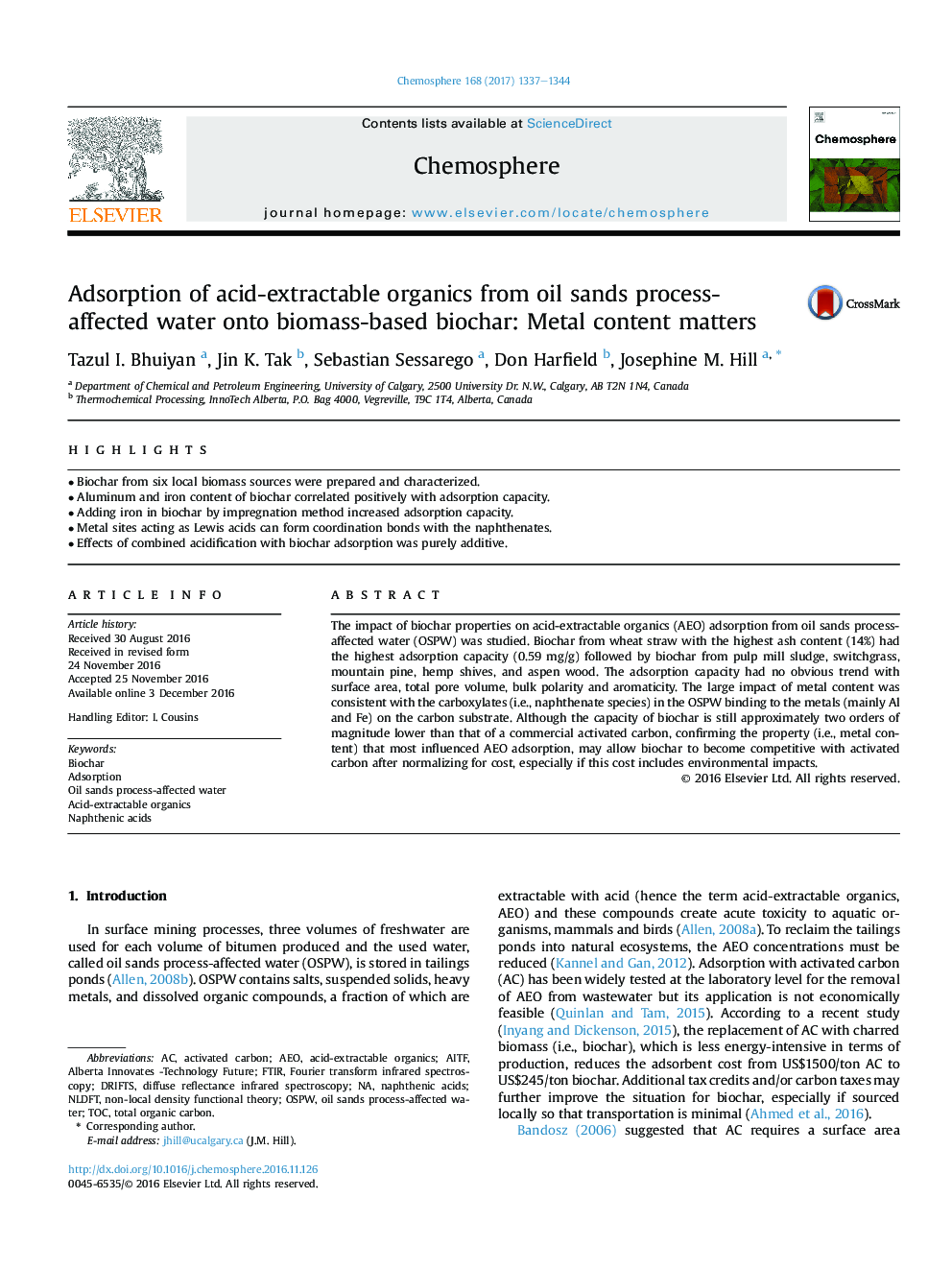 Adsorption of acid-extractable organics from oil sands process-affected water onto biomass-based biochar: Metal content matters