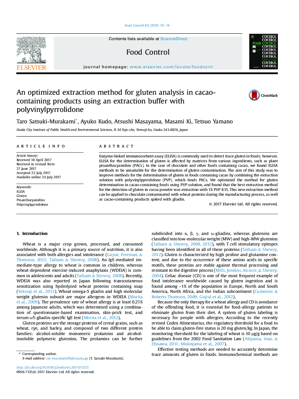 An optimized extraction method for gluten analysis in cacao-containing products using an extraction buffer with polyvinylpyrrolidone