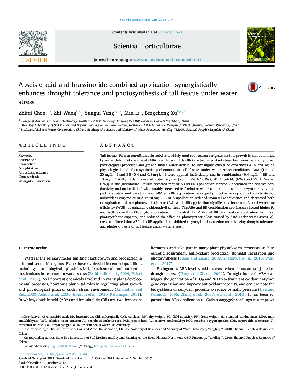 Abscisic acid and brassinolide combined application synergistically enhances drought tolerance and photosynthesis of tall fescue under water stress
