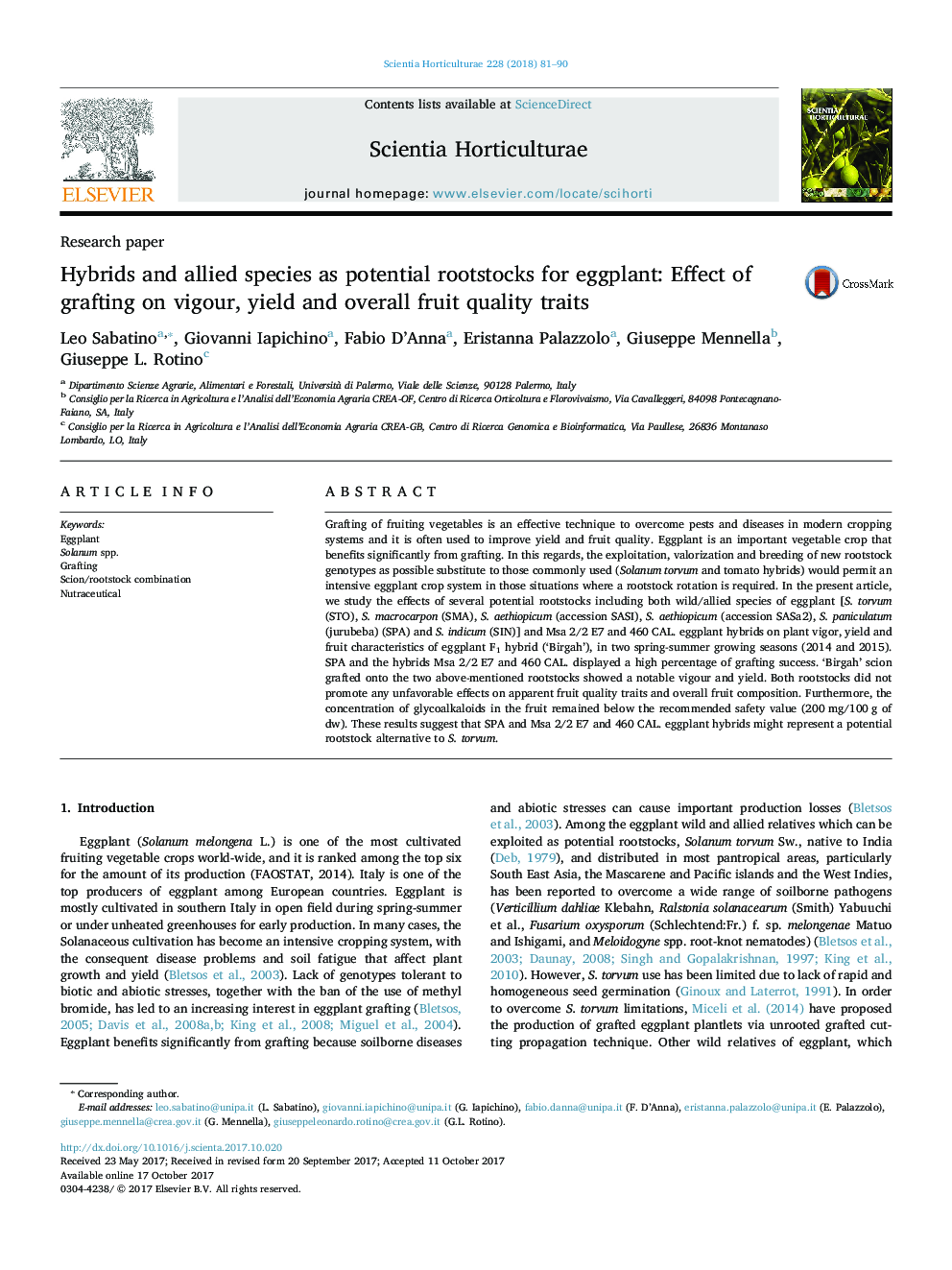 Research paperHybrids and allied species as potential rootstocks for eggplant: Effect of grafting on vigour, yield and overall fruit quality traits