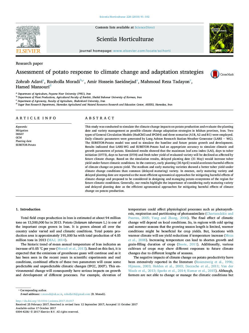 Research paperAssessment of potato response to climate change and adaptation strategies