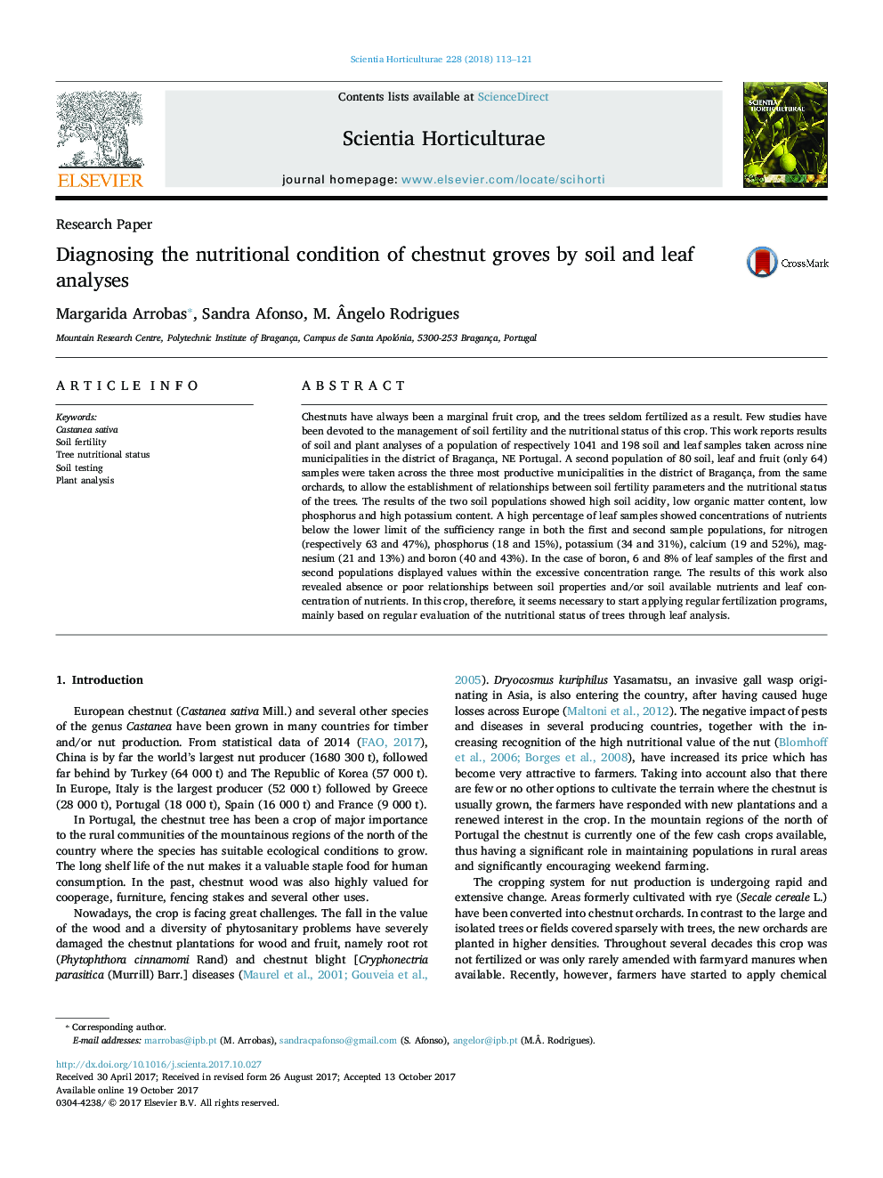 Research PaperDiagnosing the nutritional condition of chestnut groves by soil and leaf analyses