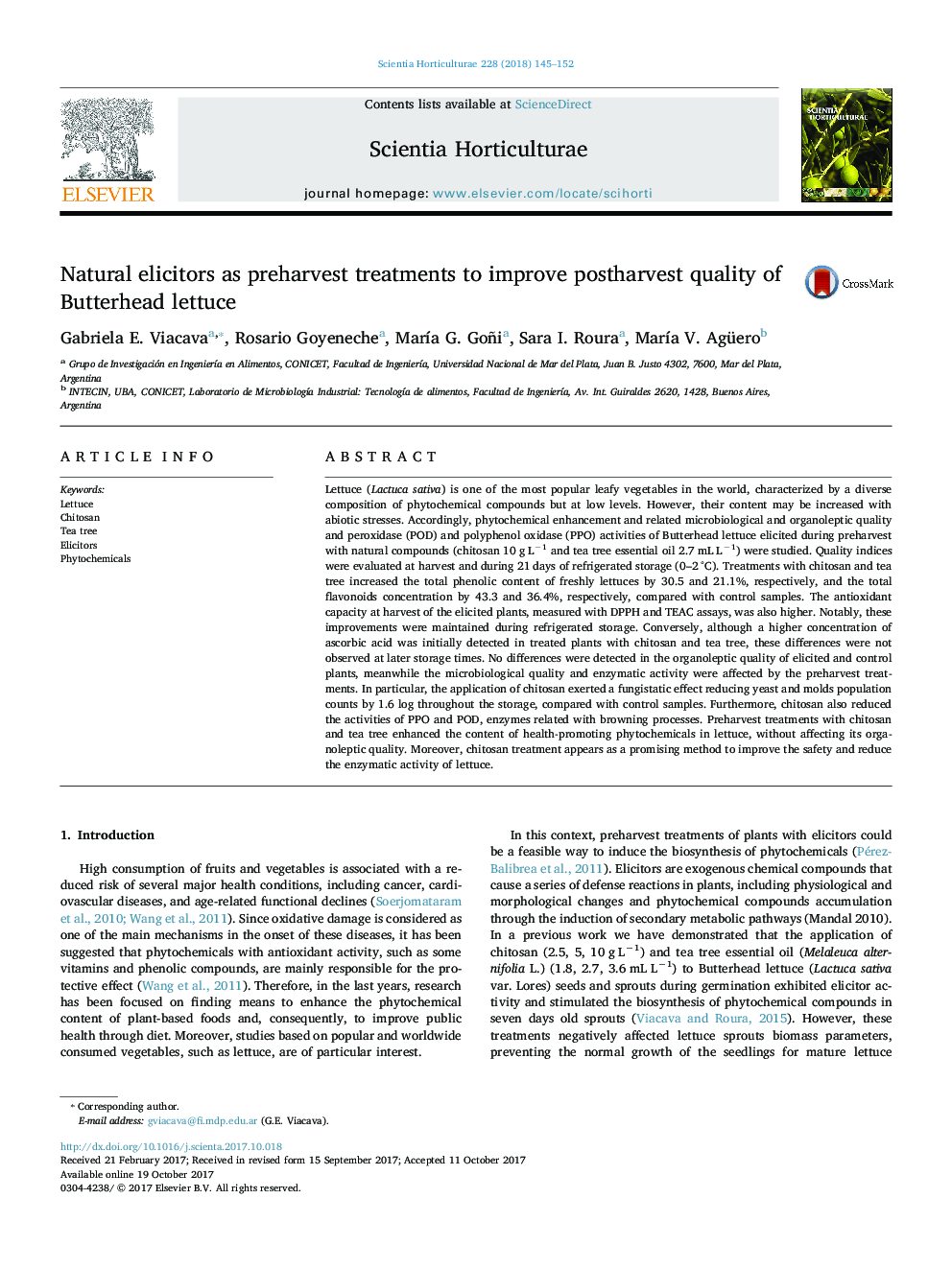 Natural elicitors as preharvest treatments to improve postharvest quality of Butterhead lettuce