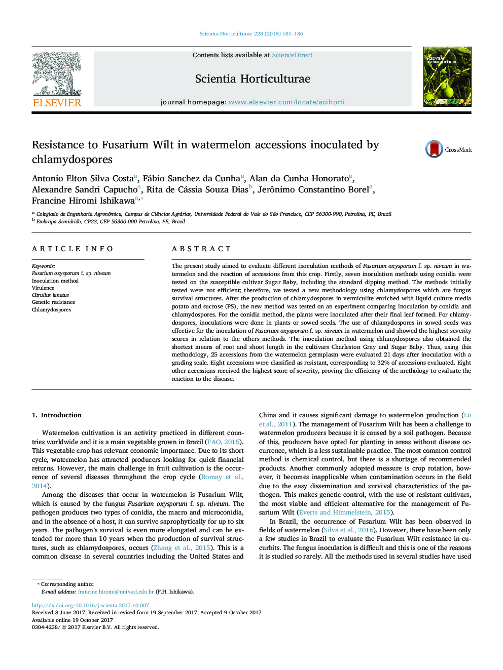 Resistance to Fusarium Wilt in watermelon accessions inoculated by chlamydospores