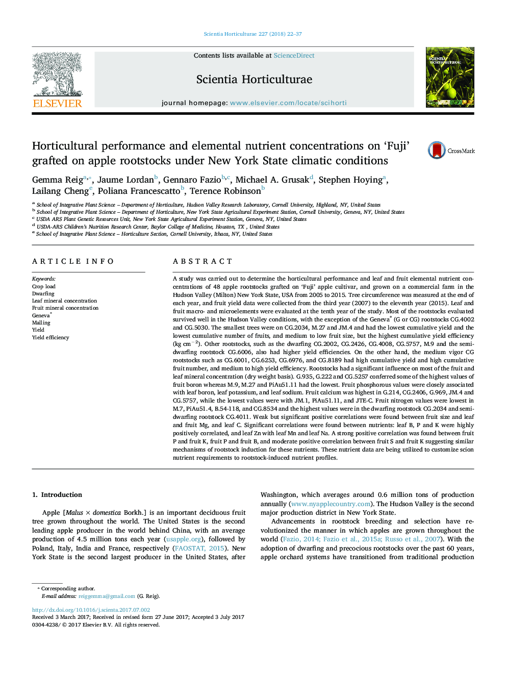 Horticultural performance and elemental nutrient concentrations on 'Fuji' grafted on apple rootstocks under New York State climatic conditions