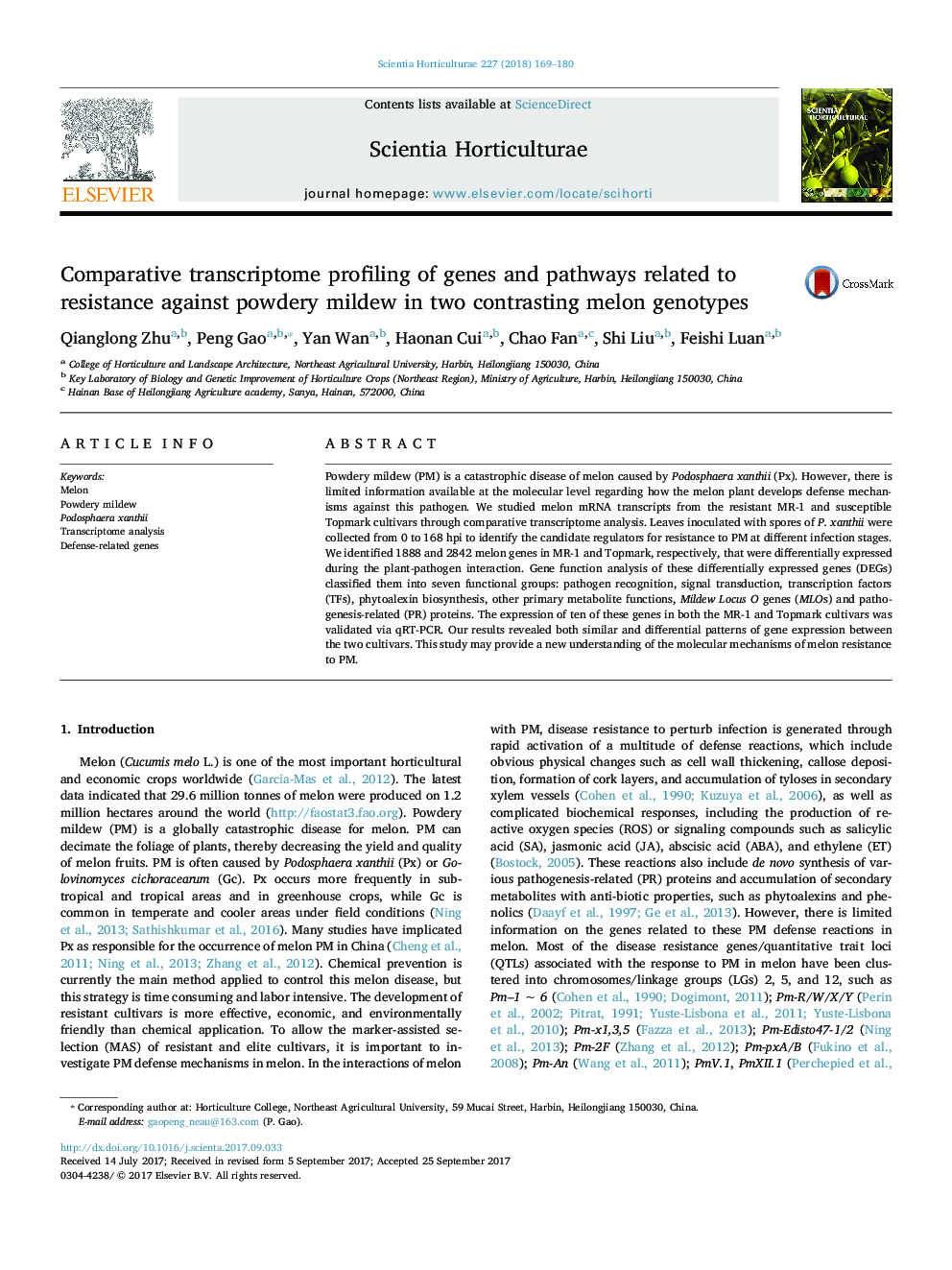 Comparative transcriptome profiling of genes and pathways related to resistance against powdery mildew in two contrasting melon genotypes