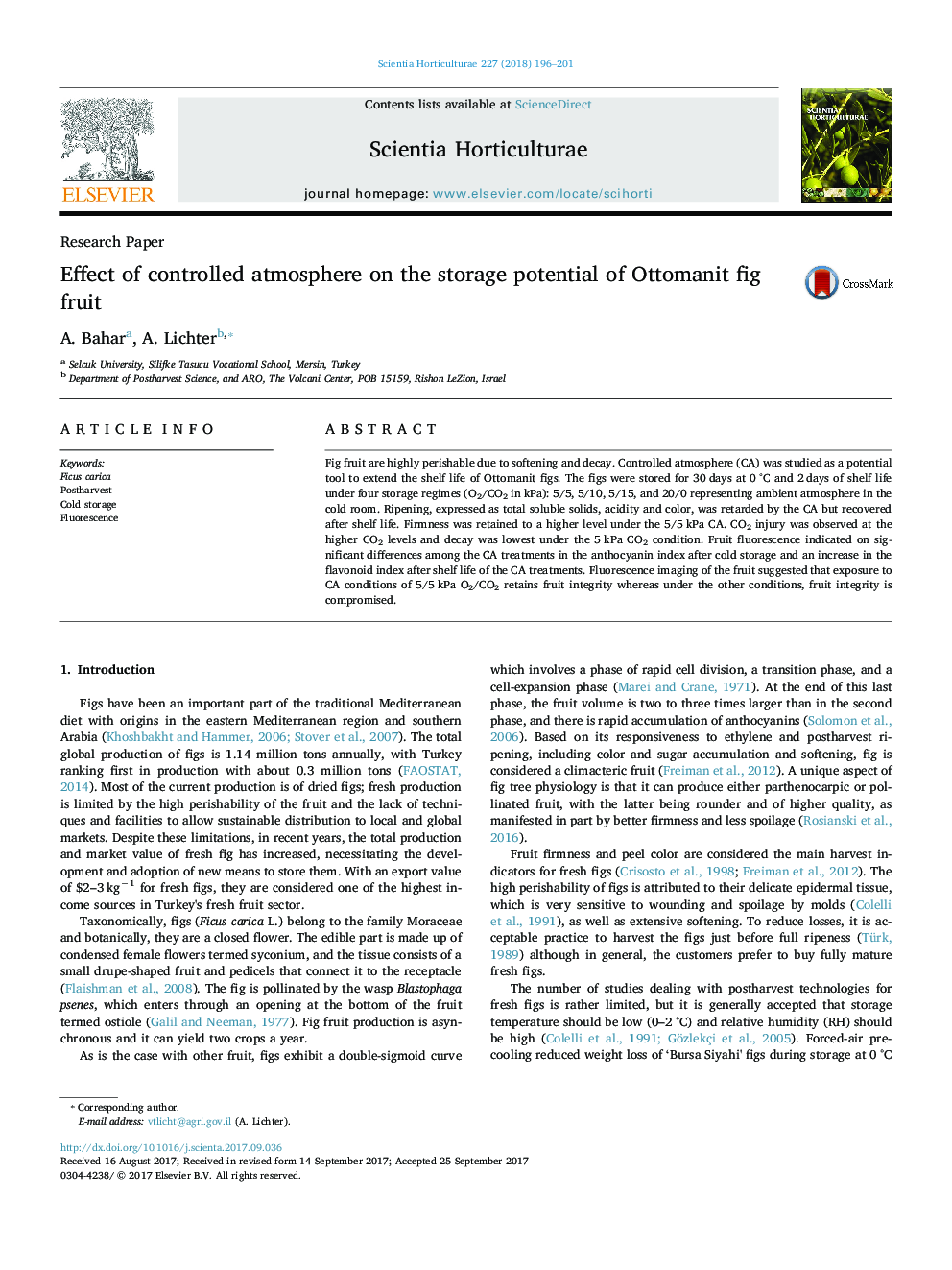 Research PaperEffect of controlled atmosphere on the storage potential of Ottomanit fig fruit