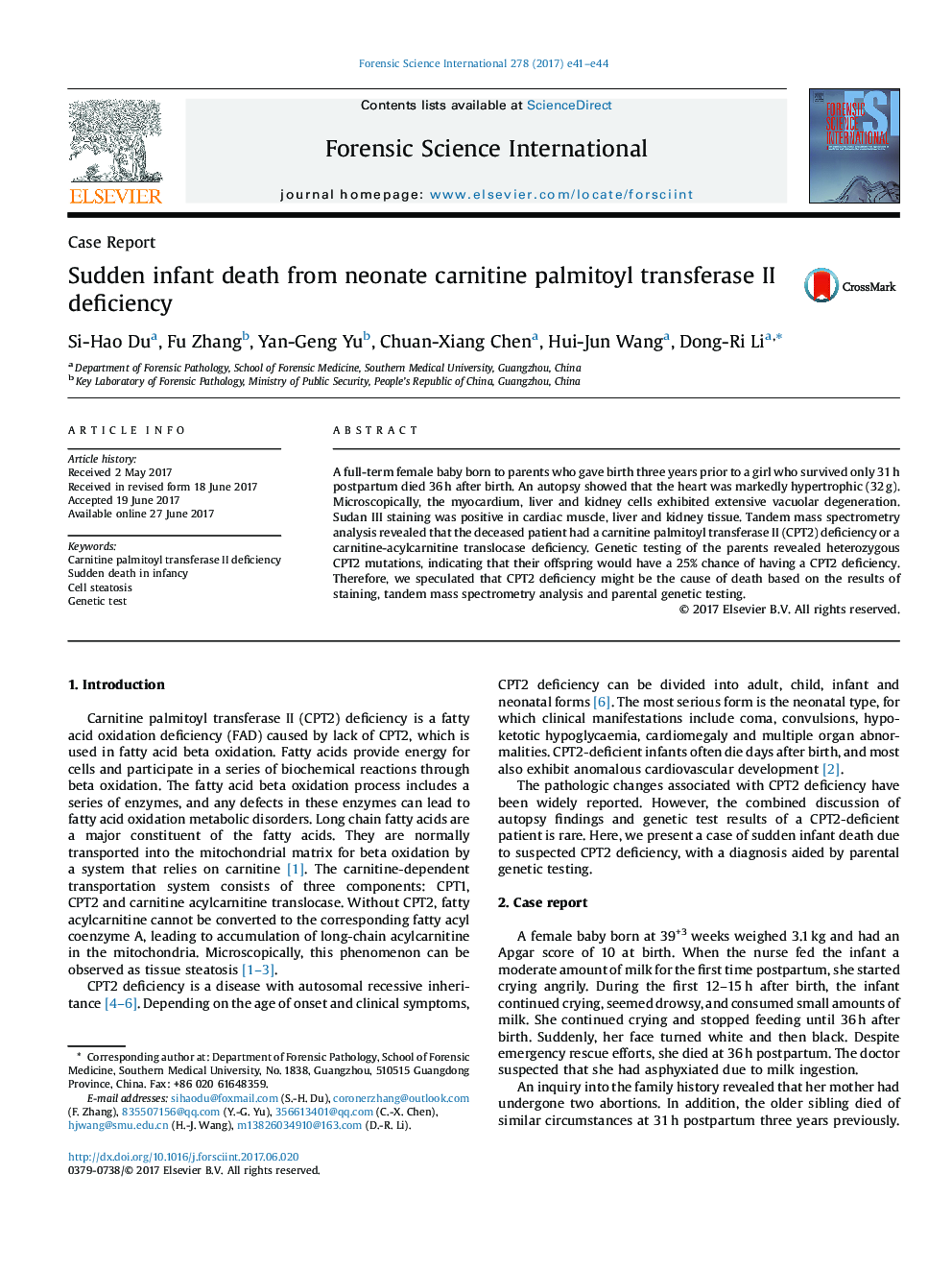 Sudden infant death from neonate carnitine palmitoyl transferase II deficiency