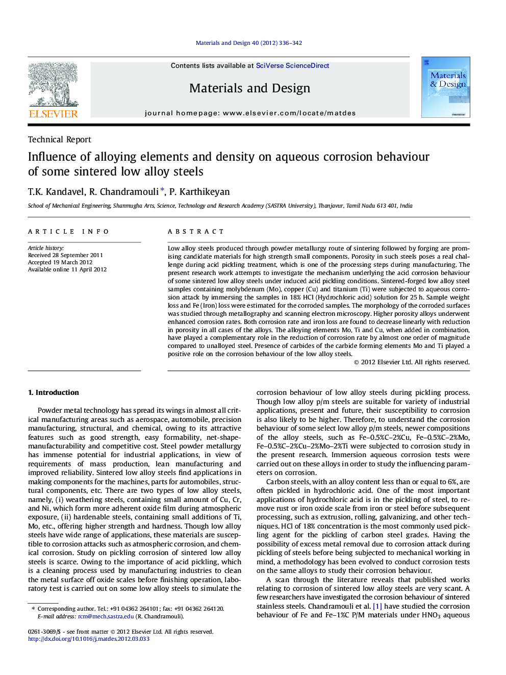 Influence of alloying elements and density on aqueous corrosion behaviour of some sintered low alloy steels