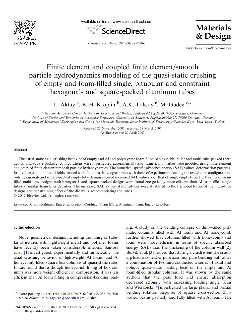 Finite element and coupled finite element/smooth particle hydrodynamics modeling of the quasi-static crushing of empty and foam-filled single, bitubular and constraint hexagonal- and square-packed aluminum tubes